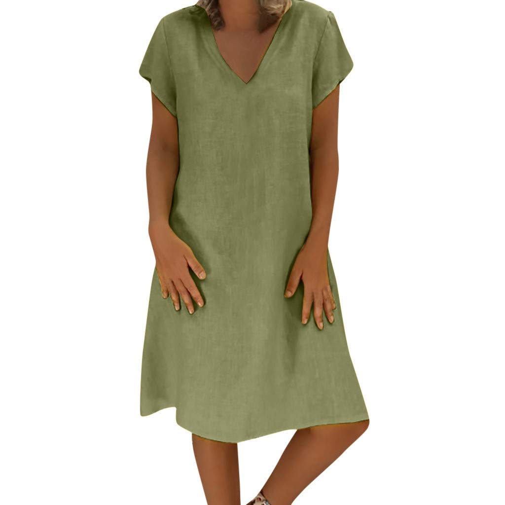 MISYAA Dresses for Women, Boho Solid Linen Aline Dress Round Neck T Shirt Dress Bikini Cover Up Gifts Womens Dresses Green