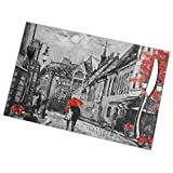 BEASDEN Set of 6 Heat-Resistant Placemats Oil Painting City Red Tree Trendy Anti-Skid Washable Table Mats Dining Table/Kitchen