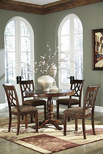 FurnitureMaxx Leahlyn Medium Brown Round Dining Room Furniture Set