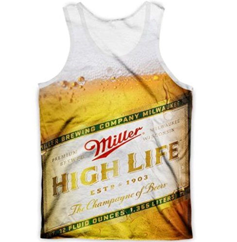 Medium Miller High Life Tank Top Sublimation Print T-Shirt - Miller Life Cap High