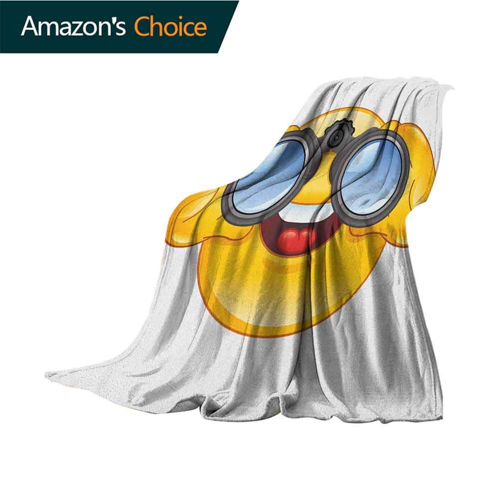 Emoji Children's Blanket,Smiley Face with a Telescope Binoculars Glasses Watching Outside Cartoon Print Microfiber All Season Blanket for Bed or Couch Multicolor,50'' Wx60 L Yellow and Blue