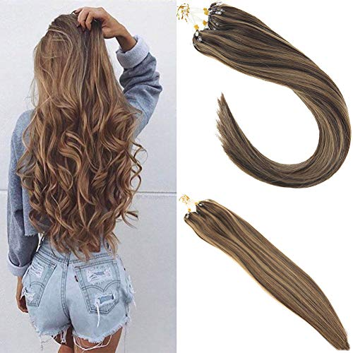 Sunny 20inch Micro Ring Hair Extensions Brown Mixed with Blonde Remy Human Hair Extensions 1g/Strand Silky Straight Micro Ring Loop Hair Extensions 50gram