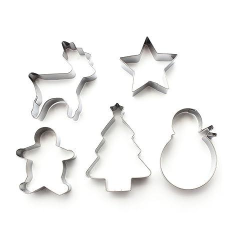 Yoohome Moldes de repostería de Navidad, de acero inoxidable, para galletas, bizcochos, pasteles, etc., Noël*5: Amazon.es: Hogar