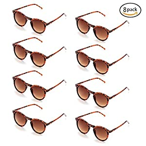 8 Pack Party Favor Brown Leopard Round Sunglasses, 100% UV Protection
