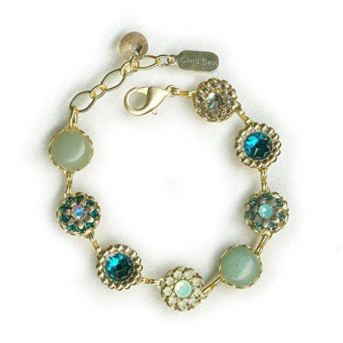 (Clara Beau Charming Green Swarovski crystal GoldTone Filigree Cluster Bracelet BF143)