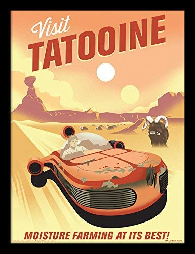 Star Wars 40th Anniversary Tatooine Framed 30 x 40 Official Print 14 x 18 inches Print Size: 30 x 40 cm Overall Size: 36 x 46 cm