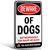 "Aluminum Beware of Dogs Sign, DibondTM Metal 1/8"" Thick for Indoor / Outdoor (8x11, Beware of Dogs)"