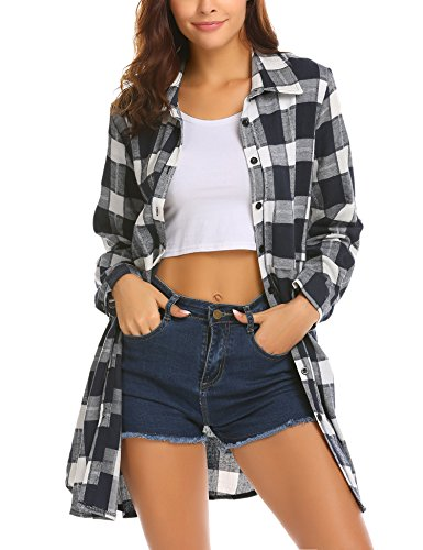 HOTOUCH Women's Long Sleeve Flannel Plaid Shirt(Navy Blue L) ()