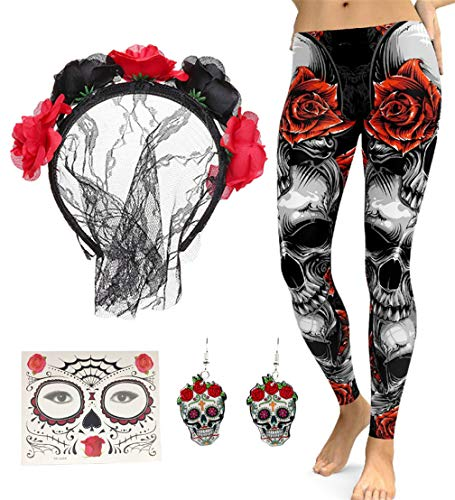 FUNDAISY Lace Veil Rose Flower Headband with High Waist Skull Earring Yoga Leggings Pant (Red, L) -