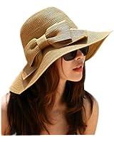 Outop Fashion Korean Style Floppy Wide Brimmed Summer Beach Bow Hat Women's Straw Sun Hat Cap
