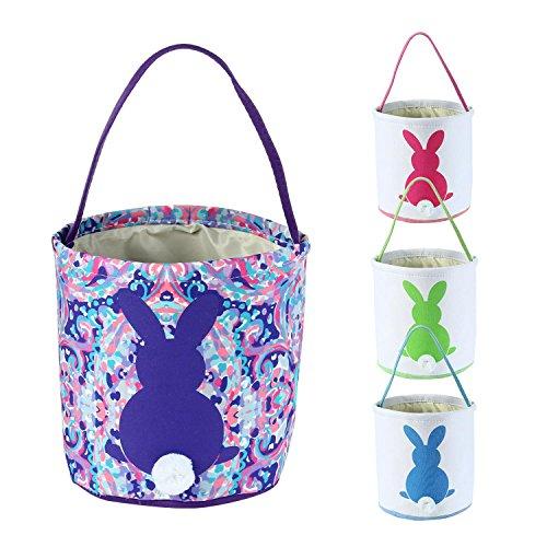 AOLVO plegable cesta de Pascua, vacía cestas de Pascua, dibujos colada, bolsa de huevos de Pascua de doble capa/cesta de...