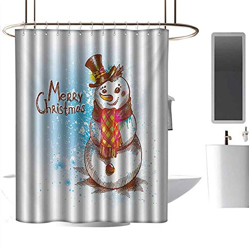 J Chief Sky Bathroom Shower Curtains Snowman,Sketch Style Artwork Traditional Figure with Merry Christmas Wish Hat and Scarf,Multicolor Hanging Curtain Home Decoration W72 x L84 Inch ()