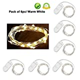 (US) Pack of 6 LED Moon Starry String Lights with 20 Micro LEDs on 5feet/1.5m Silver Coated Copper Wire, 2 x CR2032 Battery Power(Included), for DIY Wedding Centerpiece or Table Decorations (Warm White)