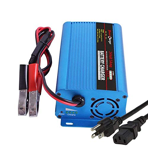 - 24V 5Amp Automatic Battery Charger Maintainer, Car Battery Charger Maintainer with Alligator Clips for Scooter, Wheelchair, Motorcycle, eBike, Lawn Mower Electric Tools Emergency Light etc