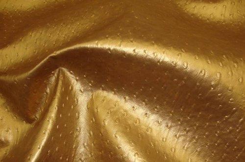 Vinyl Faux Leather Ostrich Vinyl Gold Metallic Upholstery Vinyl Fabric Sold BTY Per Yard