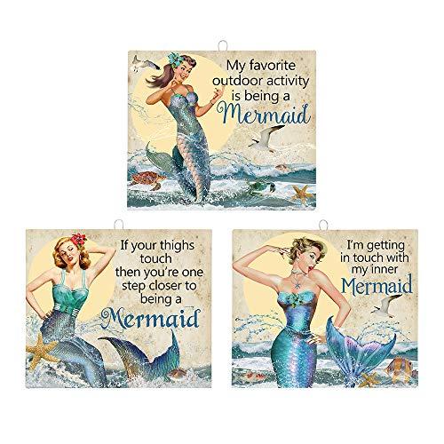 OHIO WHOLESALE, INC. Sassy Mermaid Tin Signs | Mermaid Beach Home Decor Wall Art | Set of 3 | 7 x 8 Inch ()