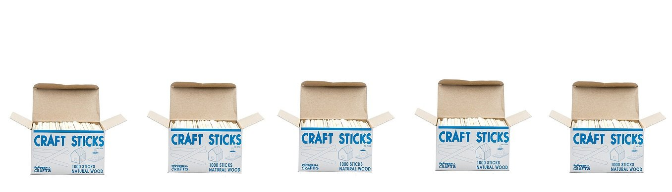 Natural Wood Craft Sticks (Pack of 1,000) (5-Pack)