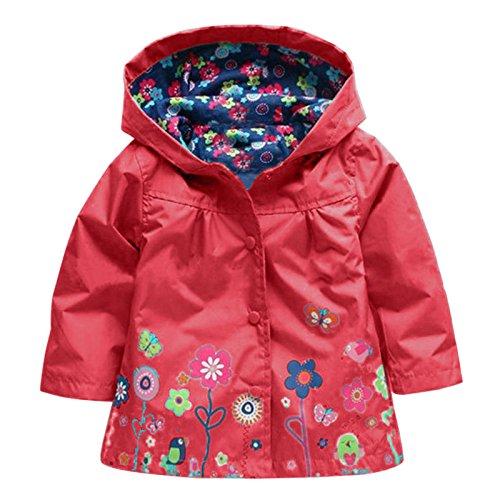 Wennikids Baby Girl Kid Waterproof Floral Hooded Coat Jacket Outwear Raincoat Hoodies X-Large Red ()