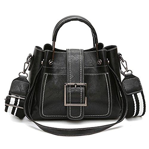 Sac Bag Bag Tote Pu Soft black2 Women Shoulder Pin Type Handle Women Handbag Ladies Casual Leather Bag Metal Solid Fashion rxqUn6rvIw
