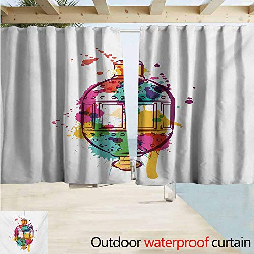 AndyTours Rod Pocket Curtains,Lantern Artistic Color Splashes on a Hand Drawn Style Lantern Figure with Abstract Look,Darkening Thermal Insulated Blackout,W55x45L Inches,Multicolor