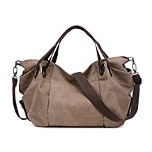 NOTAG Hobo Handbag for Women Vintage Canvas Tote Bag Simple Style Large Capacity Crossbody Shoulder Bag Top Handle Stachel Messenger Bag Purse with Removable Strap for Shopping,Travel,Work