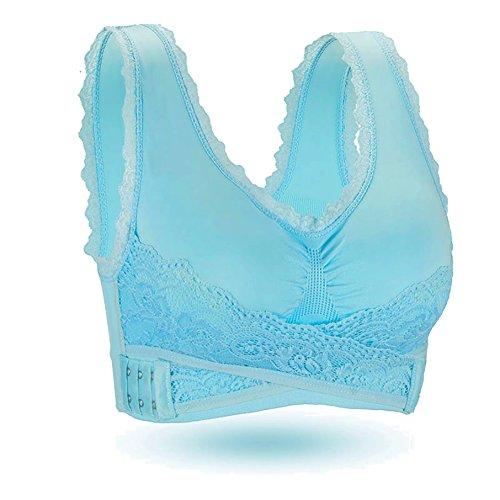 BRABIC Women's Sports Bra Lace Trim Side Buckle Padded Bralette Sleep Bra Solid