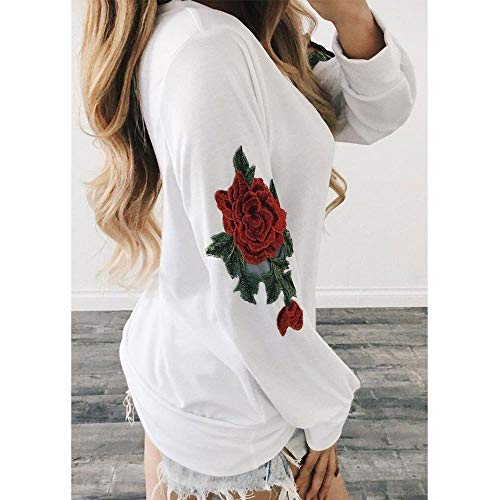 FUNIC Womens Shirt, Women Rose Embroidery Long Sleeve Long Sweatshirt Pullover Tops Blouse (L, White) by FUNIC (Image #3)
