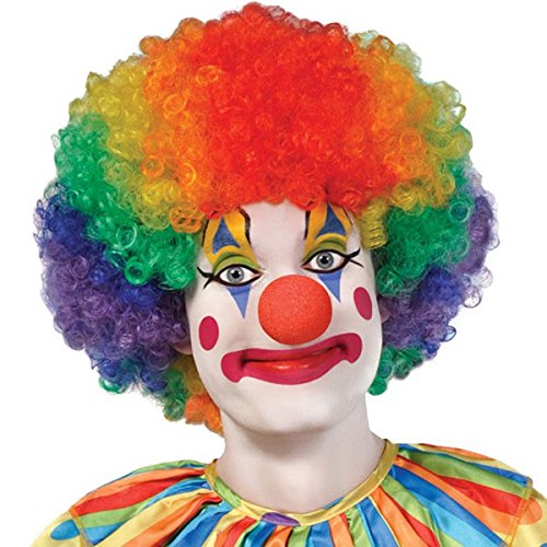 Goofy and Fun Costume Party Clown Afro Jumbo Wig, Multi Colored, Synthetic Hair, One Size, (Afro Rainbow Wig)