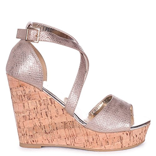 Linzi Demi - Gold Cork Wedge with Crossover Front Strap & Gold Sock Gold P7Mi4rsYd5