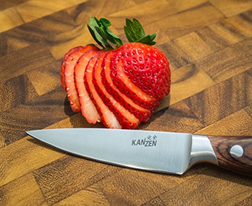 Kanzen Paring Knife 3.5 Inch - High Carbon Stainless Steel, Packaged in Gift Box, Razor Sharp, Perfect for Fruit and Vegetables, Ideal for Peeling, Slicing, Mincing, and Dicing! Full Tang Construction by Kanzen (Image #1)