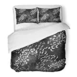 Emvency Bedding Duvet Cover Set Full/Queen Size (1 Duvet Cover + 2 Pillowcase) Abstract Animal Design Leopard with Watercolor Effect and Fur Africa African Black Hotel Quality Wrinkle