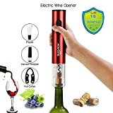 Electric Wine Opener Cordless Battery Powered Foil Cutter Vacuum Stopper Pourer Premium Accessories(RED)