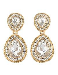 Ever Faith Wedding 2 Teardrop Earrings Clear Austrian Crystal