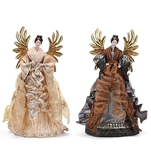 20'' Ivory Angel with Gold Wings Tree Topper by Roman