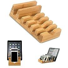 Elecguru 6 Slots Bamboo Charging Station Stand Dock Multi Device Organizer for Small Laptops, iPhone 6 6S 6Plus, iPad Mini 3 4, Samsung Galaxy S5 S6,Chrome Books, Smartphones & Tablets