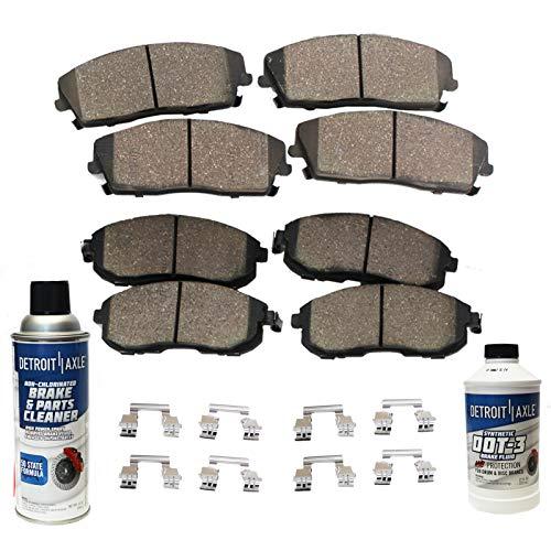 Detroit Axle - FRONT & REAR Ceramic Brake Pads w/Hardware, Brake Fluid & Cleaner for 8-LUG 2006-2008 Dodge RAM 1500 - [2003-2008 RAM 2500 3500]