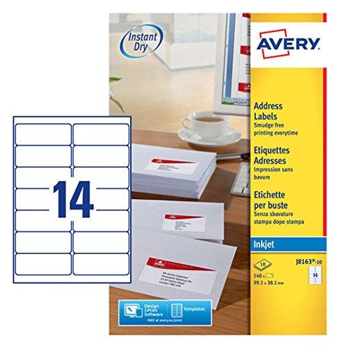 Avery J8163-100 Self- Adhesive Address/Mailing Labels, 14