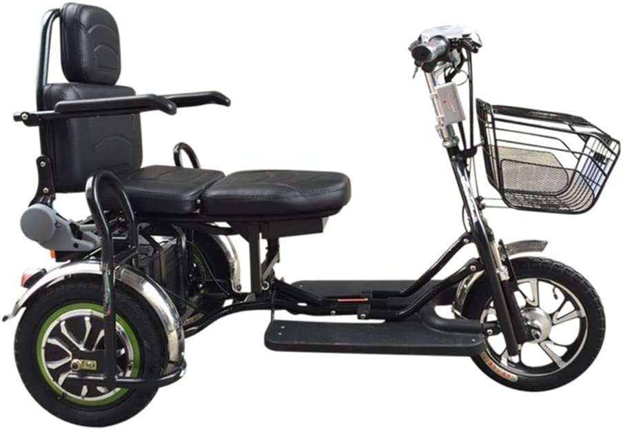 F-spinbike Plegable Doble 48V eléctrico Triciclo 500W Vespa Vieja de Tres Ruedas de batería de Coche, Adulto, Motos Viejo