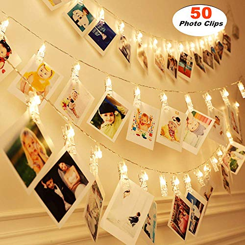 MZD8391 50 Photo Clips String Lights/Holder, Indoor Fairy String Lights for Hanging Photos Pictures Cards and Memos, Ideal Gift Photo Clip Holder (Warm ()