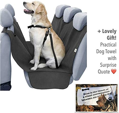 PawMyLove No More Dog Hair and Dirt on Your Car Seats EU-Made Dog Car Seat Cover for Safe and Clean Trips Lovely Extra Heart-Melting Quote Towel