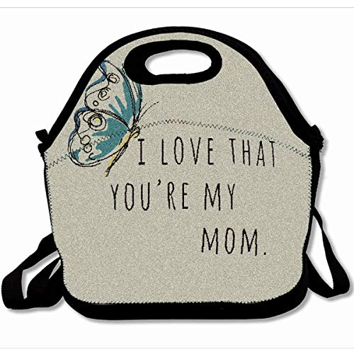 Ahawoso Reusable Insulated Lunch Tote Bag I Love That You Are My Mom 10X11 Zippered Neoprene School Picnic Gourmet Lunchbox