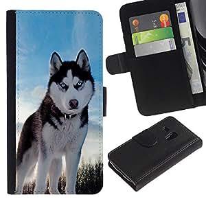 Caso Billetera de Cuero Titular de la tarjeta y la tarjeta de crédito de la bolsa Slot Carcasa Funda de Protección para Samsung Galaxy S3 MINI NOT REGULAR! I8190 I8190N Husky Bright Bl