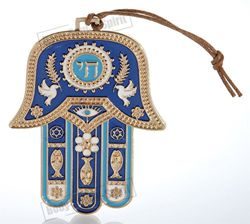 Gold tone Hamsa hand Blue Wall Hanging decor Lucky Charm CHAI Judaica Kabbalah evil eye - The Energy Of Hebrew Letters