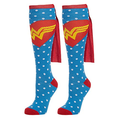 Bioworld (1 Pair) Women's Wonder Woman Knee High Socks & Capes, D.C. Comics, Ladies Shoe Size - Woman The Over Knee Wonder Socks