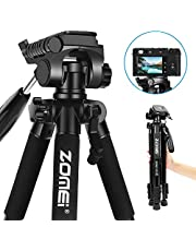 Camera Tripod - Zomei Z666 Compact Lightweight Travel Tripod with 3 Way Panhead 360° Head Include Carry Case Max. Height: 55inch - Blue