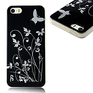 Sunshine Case Painted Series TPU Case Black Protective Skin Shell Case Cover with Butterfly Pattern for Iphone 5 5s 5g wangjiang maoyi