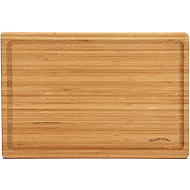 Extra Large Multipurpose Bamboo Cutting Board - 17.5 by 12 inch - by Utopia Kitchen