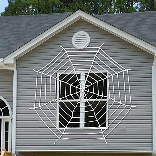 VSFNDB 12.8FT Mega Halloween Spider Web with Super Stretch Cobweb Set Toys for Kids Halloween Haunted Houses Party Decorations, Outdoor Decor Yard Decoration, Garden Patio Spiderweb Decoration - 390CM