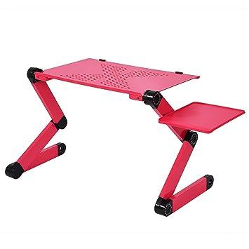 Mesa de Cama Plegable rréglable para Ordenador portátil, Bandeja de Cama Plegable aleación D; Aluminio con Ventilador de refrigeración y Placa de ratón para ...
