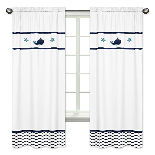 Sweet Jojo Designs 2-Piece Blue Whale Collection Window Treatment Panels
